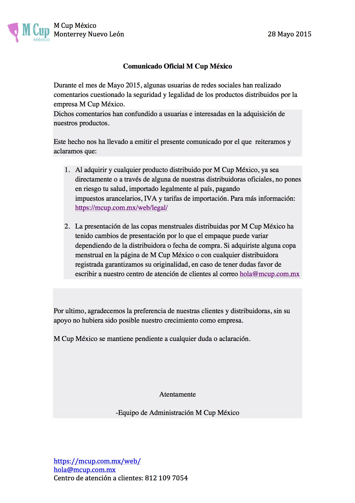 Comunicado Oficial Junio 2015 M Cup México